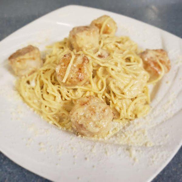 scallops n spaghetti